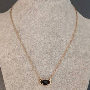 Delicate black faceted single bead necklace